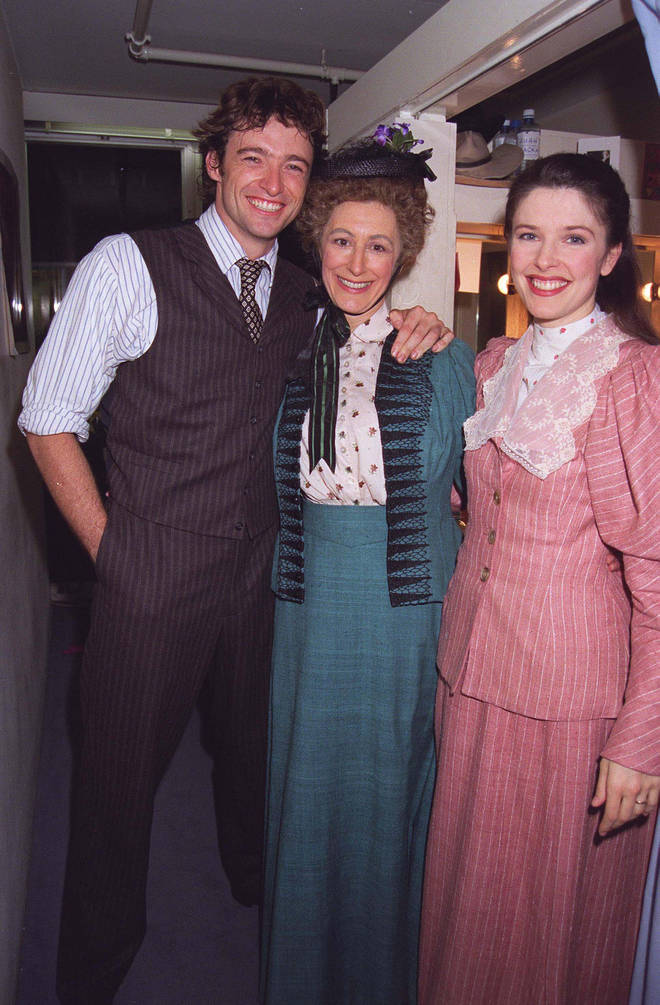 Hugh Jackman with Maureen Lipman (centre) on the opening night of Oklahoma!
