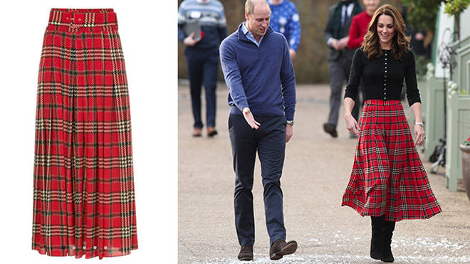 Kate wore a tartan skirt by Emilia Wickstead this week at Kensington Palace
