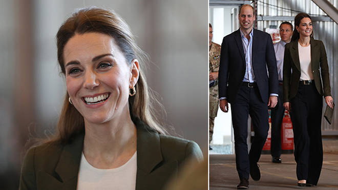 Kate looked stunning in wide-legged trousers