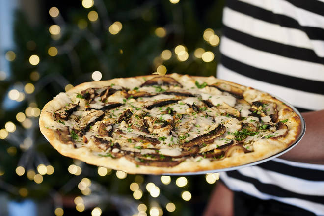 Vegans are also catered for with this indulgent mushroom pizza