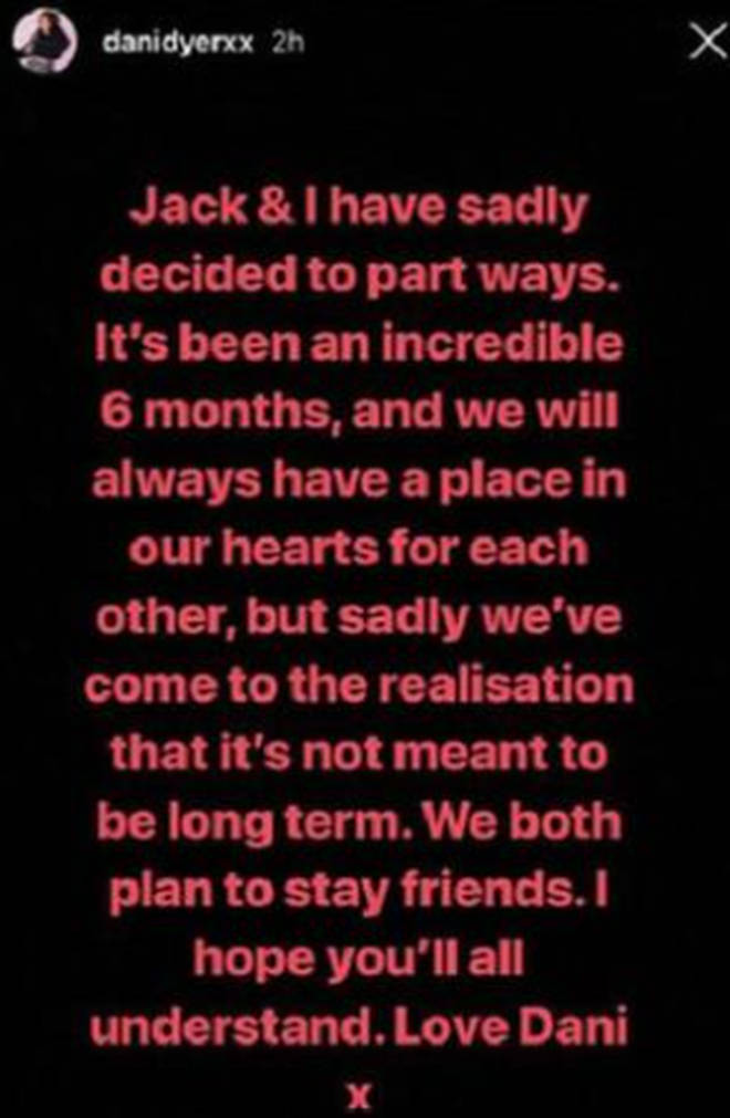 Dani announced the split on Instagram
