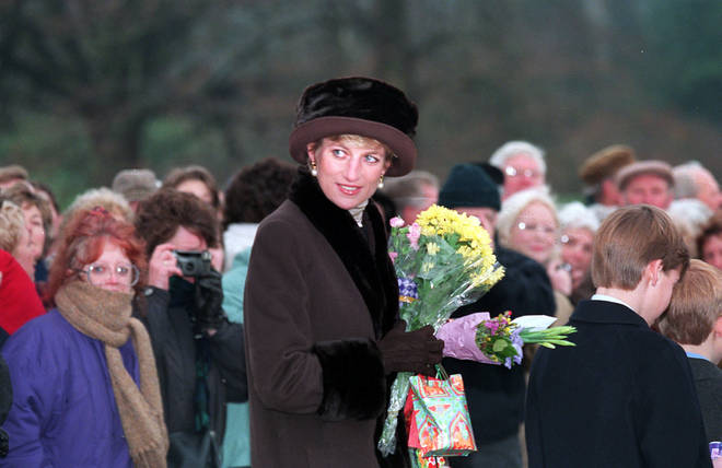 Princess Diana follows behind her sons as they leave church on Christmas day