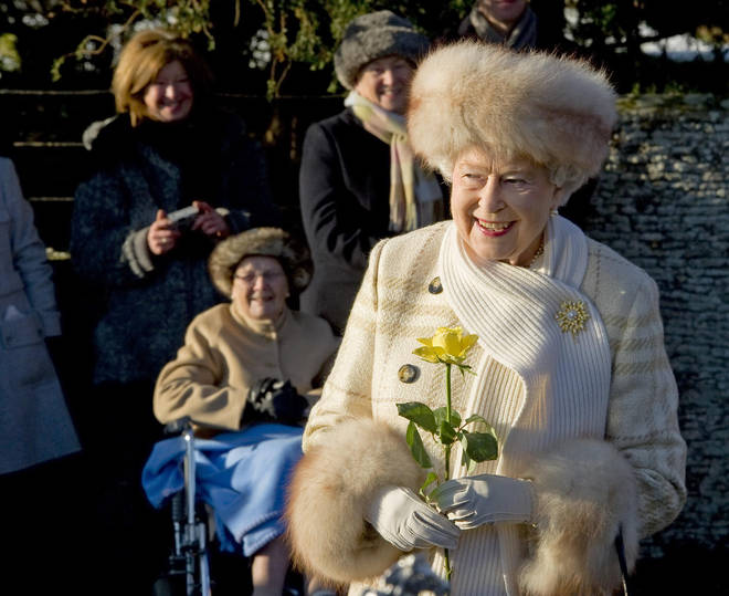 The Queen pictured on Christmas Day in 2010