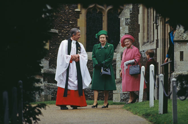 The Queen and her mother leave the church on Christmas day alongside a young Prince William