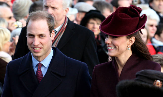 Prince William and Kate Middleton attend church