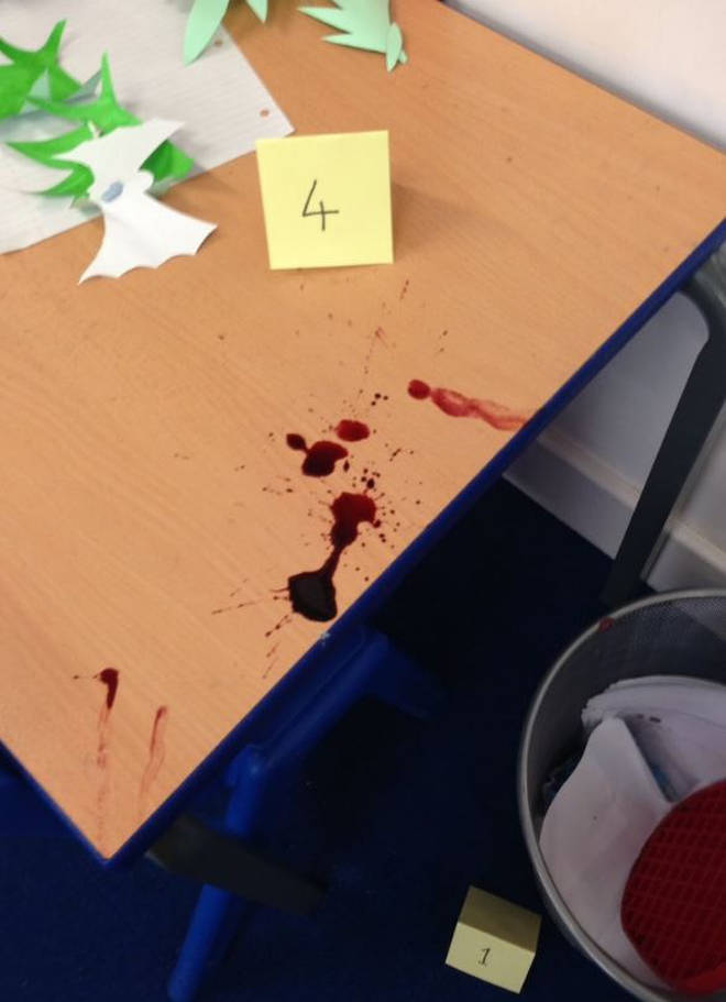 Teachers went as far as smearing fake blood around the classroom
