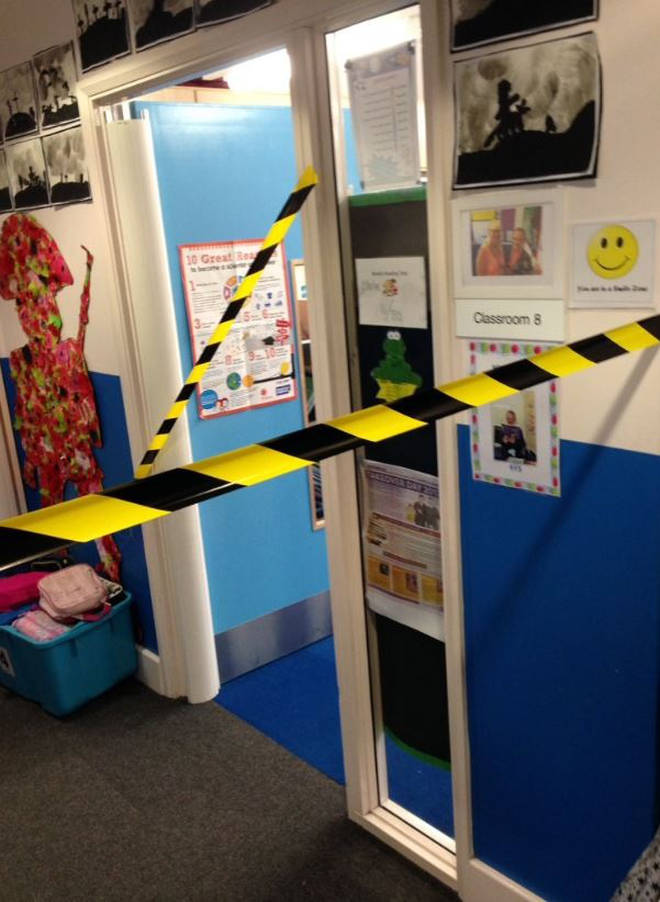 The classroom was cordoned off to imitate a real crime scene