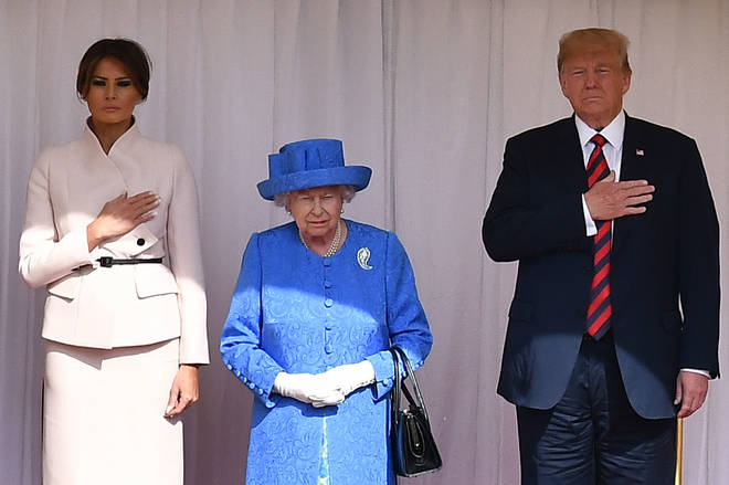 The Queen pictured with President Trump and First Lady Melania