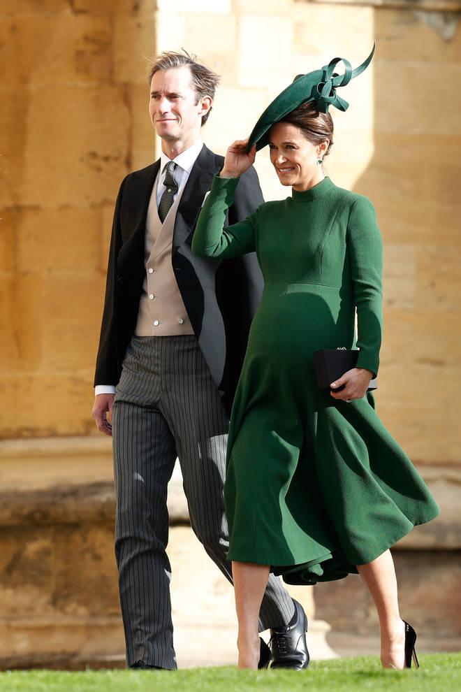 A heavily pregnant Pippa Middleton at Princess Eugenie's wedding