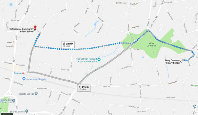 The map shows Harry and Kelly's 25 minute walk from Lily's school