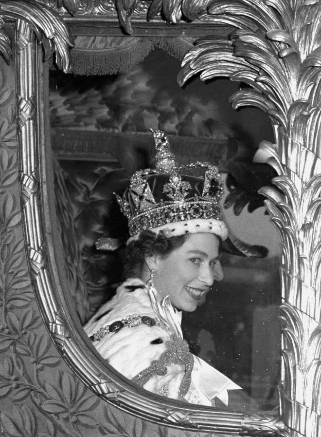 The Queen pictured leaving her coronation in 1953