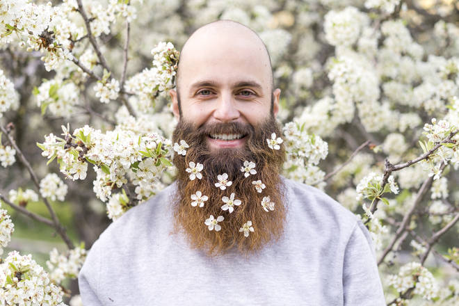 Floral beards look set to be a big wedding trend of 2019 (stock image)