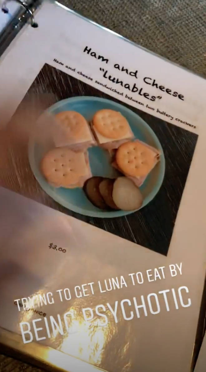 Chrissy's hand made menu includes 'Ham and Cheese Lunables'