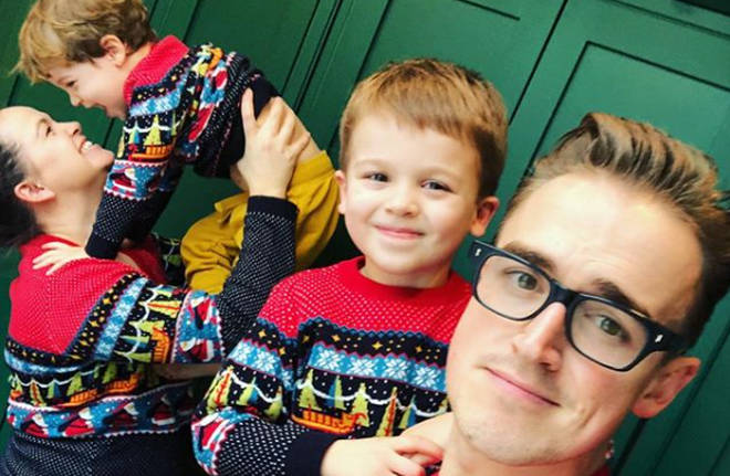Giovanna Fletcher with her husband Tom and kids Bussy and Buzz