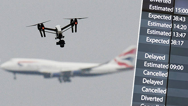 Drones have been spotted flying to Gatwick airport's runways