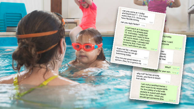 A tense exchange of words has gone viral between swim instructor and an angry mum