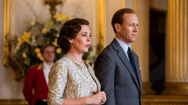 Olivia Colman as Queen Elizabeth II and Tobias Menzies as Prince Philip in The Crown