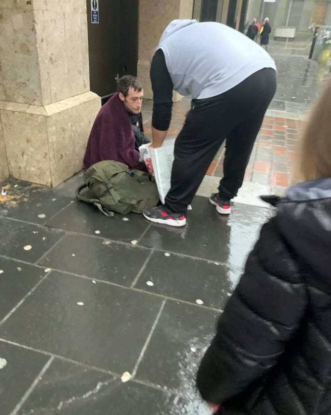 A homeless man was given a food parcel by Pearly Rose's family