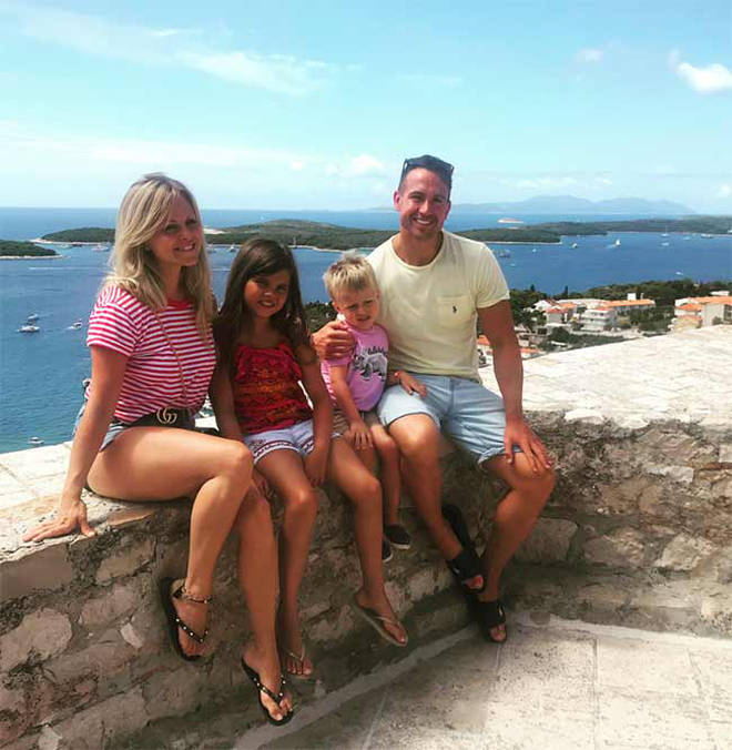 Tina O'Brien, husband Adam Crofts and family
