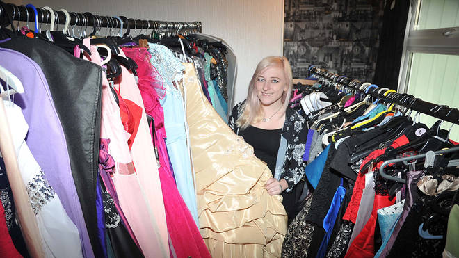 Ally Elouise with some of the dresses she loans to teenagers