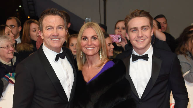 Bradley Walsh on the red carpet with wife Donna and son Barney