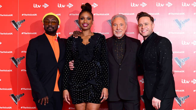 Jennifer Hudson with fellow Voice judges will.i.am, Tom Jones and Olly Murs