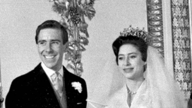 Anthony Armstrong-Jones and Princess Margaret pictured on their wedding day in 1960