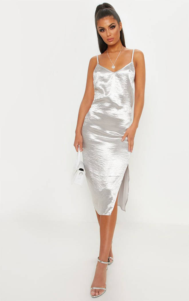 Silver Hammered Satin Slip Midaxi Dress