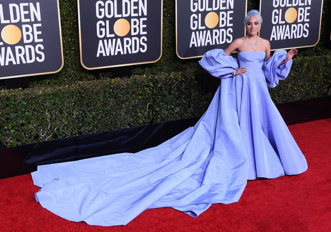 Lady Gaga matched her dress to her hair at the Golden Globes last night