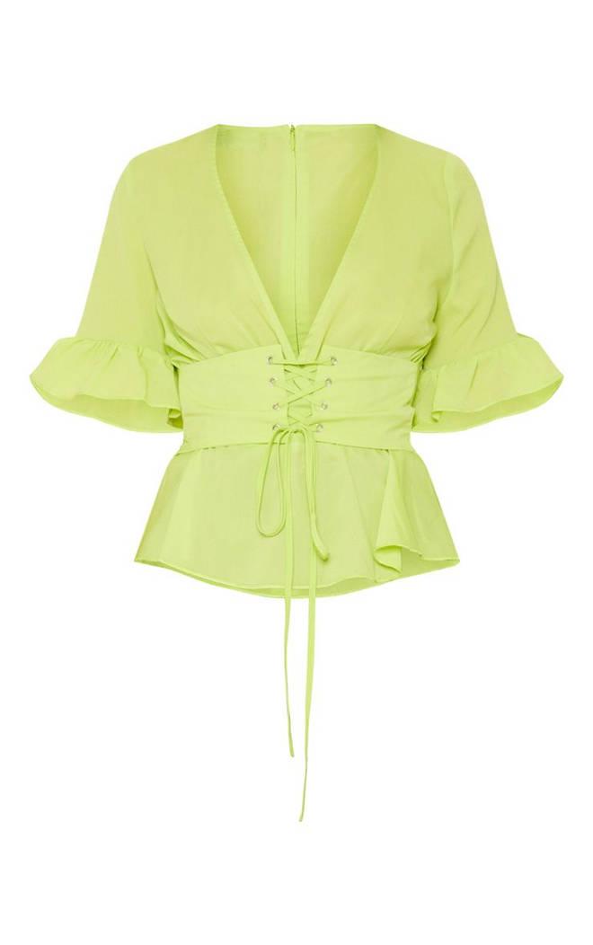 Neon Green Frill Sleeve Corset Blouse