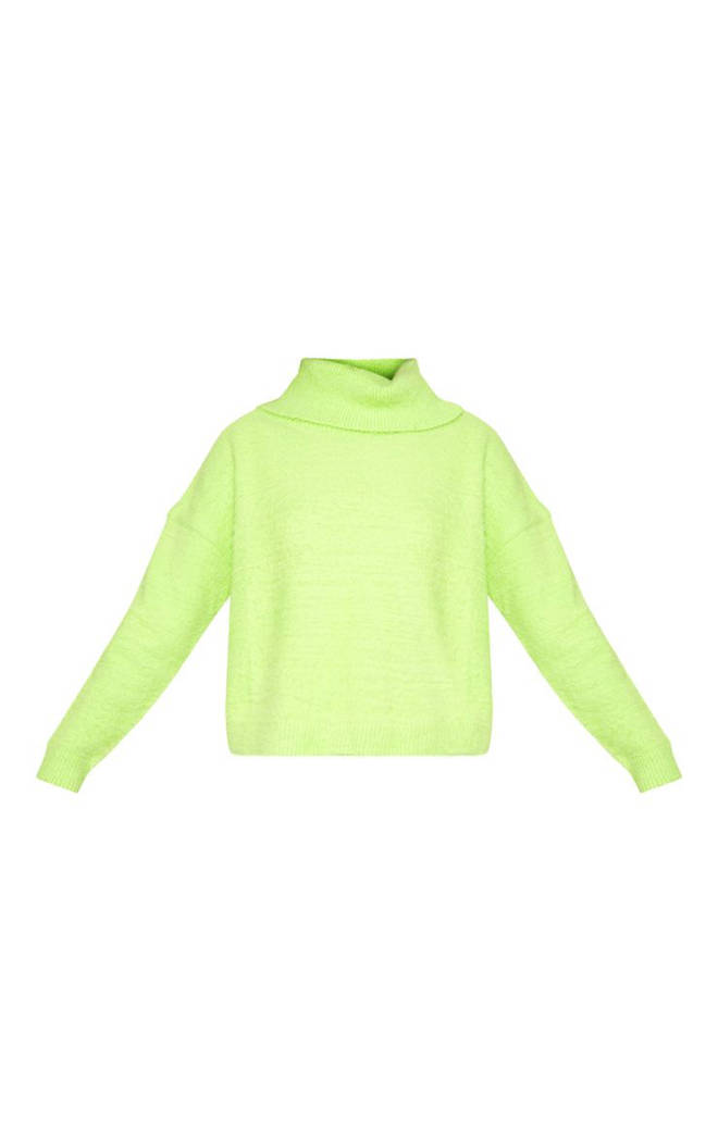 Neon Lime Roll Neck Fluffy Knit Jumper