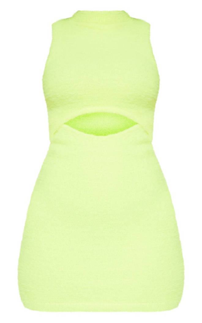 Neon Lime Fluffy Knit Cut Out Mini Dress