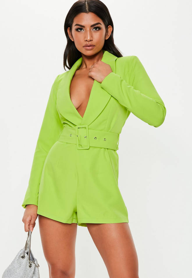 Neon Green Belted Blazer Playsuit