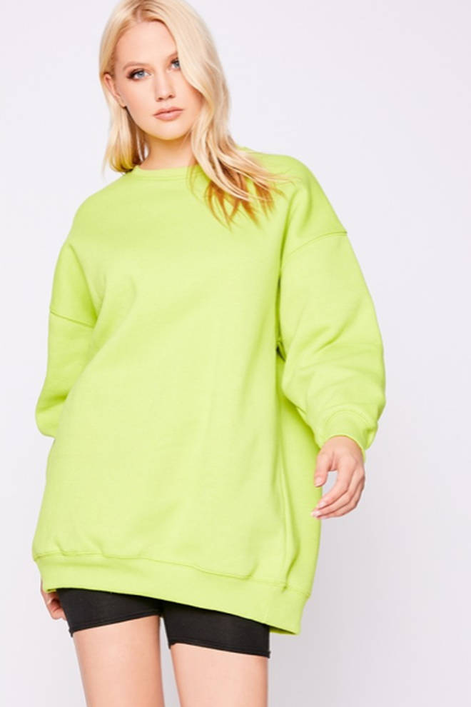 Bryan Lime Oversized Sweater Dress