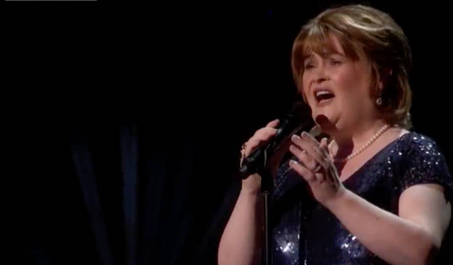 Susan Boyle performing on America's Got Talent: The Champions