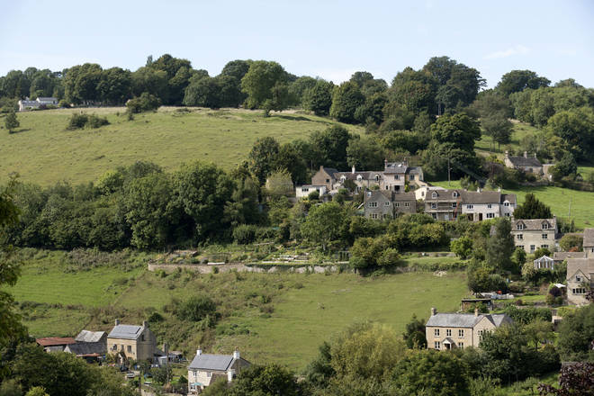 Overview of the Cotswold village of Burleigh near Stroud Gloucestershire England UK