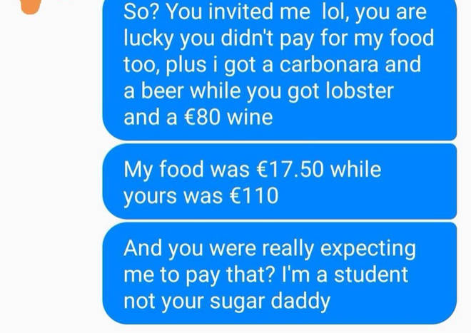 She splashed out on lobster and expensive wine