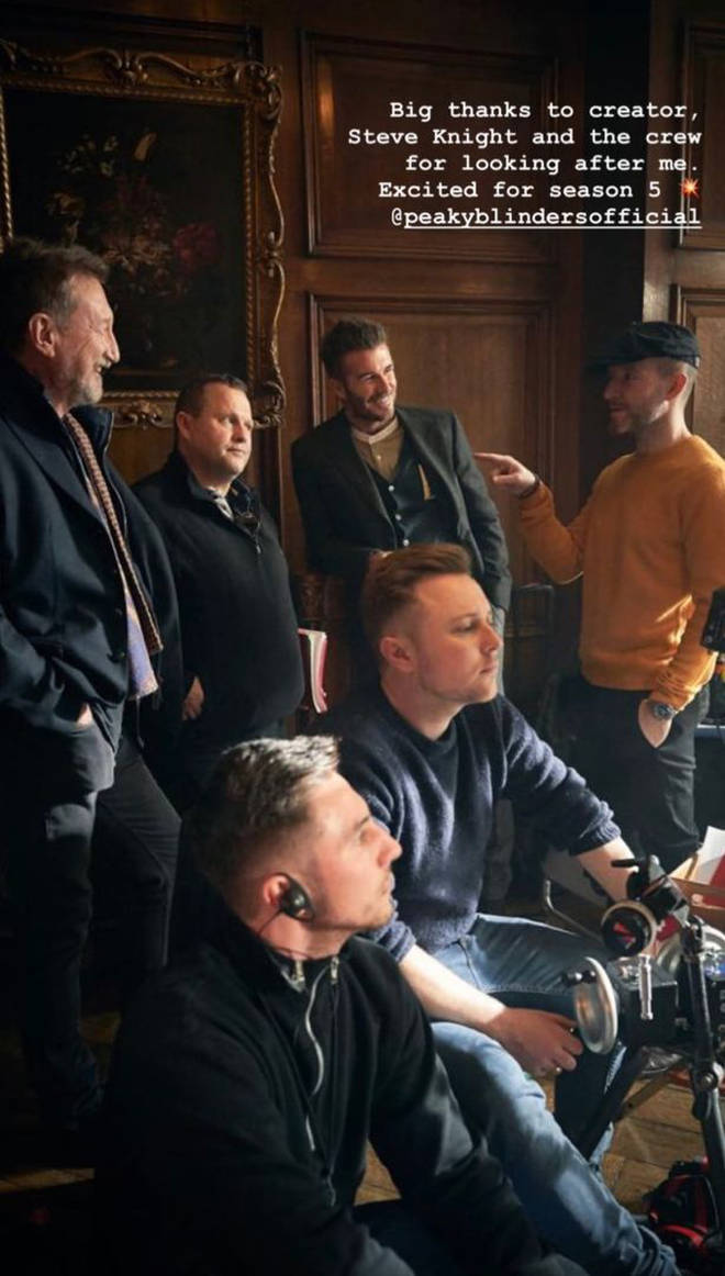 David Beckham on set with the crew of Peaky Blinders