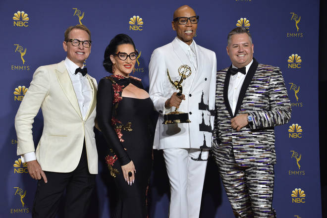 Michelle Visage poses with fellow Drag Race stars after they won the Emmy for Outstanding Reality Competition Programme