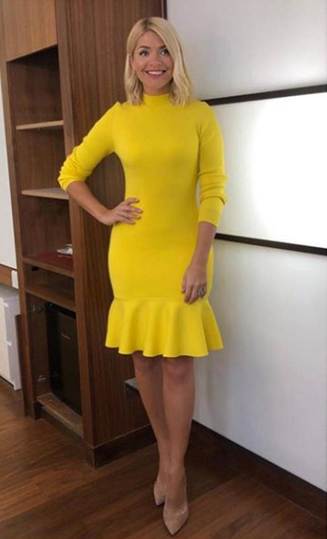Holly Willoughby wears yellow Karen Millen dress for This Morning