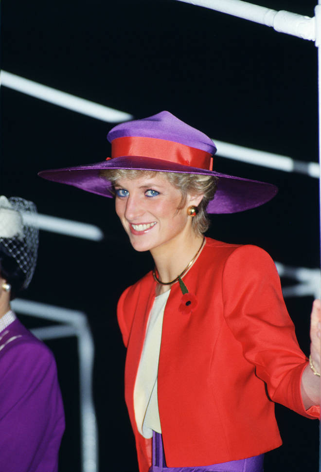 Princess Diana loved wearing red and purple