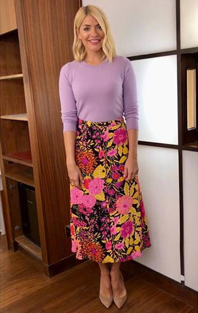 1904fc0b73 Holly Willoughby This Morning skirt today  Phillip Schofield s co ...