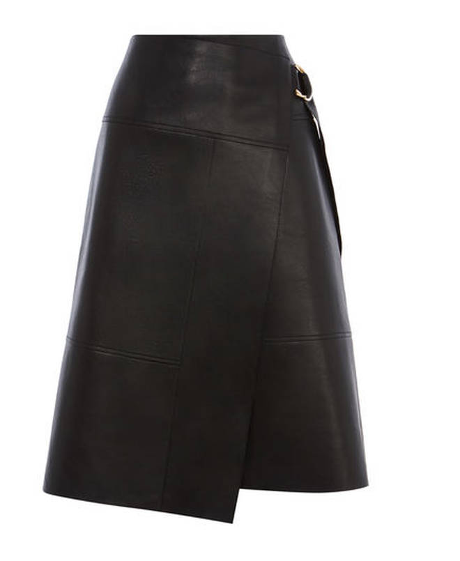 Holly Willoughby wears Karen Millen leather skirt on This Morning