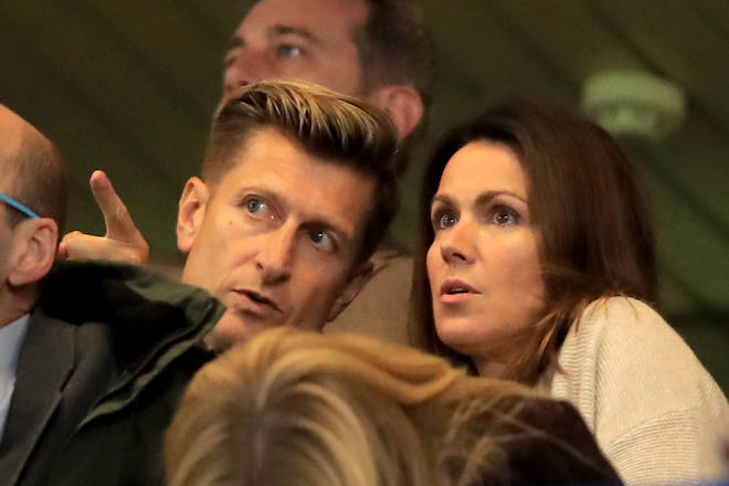 Steve Parish and Susanna Reid watching Crystal Palace play Chelsea at Stanford Bridge