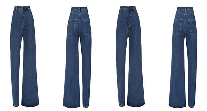 The asymmetric jeans in all their usual glory....