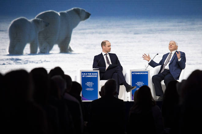 Prince William played journalist for a chat with Sir David Attenborough - pictured in front of images from upcoming Netflix series Our Planet