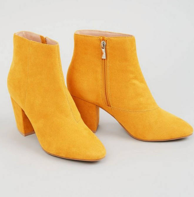 These mustard booties are too cute