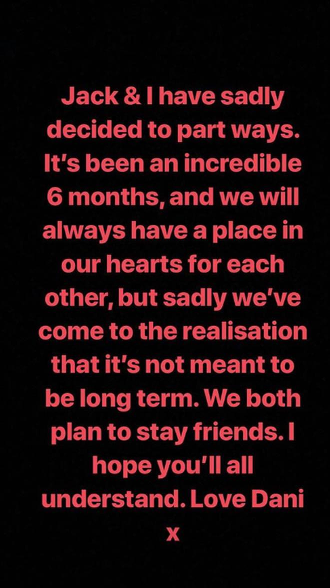 Dani Dyer announced she'd split with Jack Fincham in December