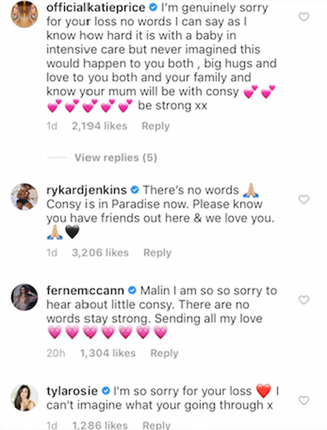 Celebrities flocked to the comments to pay tribute to Consy