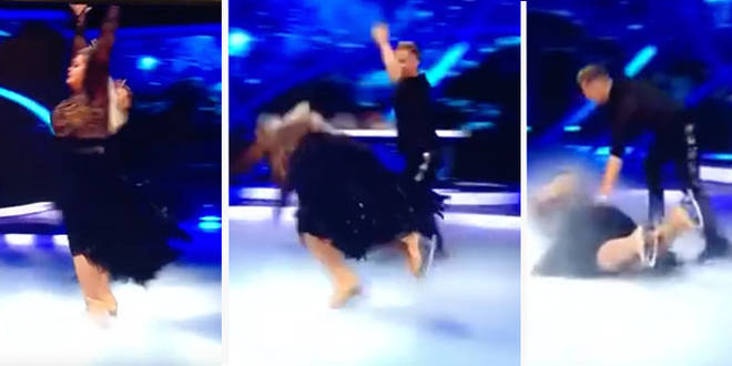 The reality star lost her balance and skidded face first across the ice